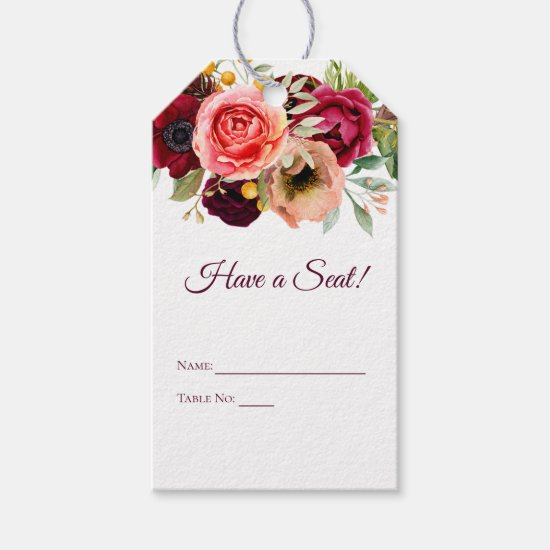 Bohemian Floral Romance Seating Tags