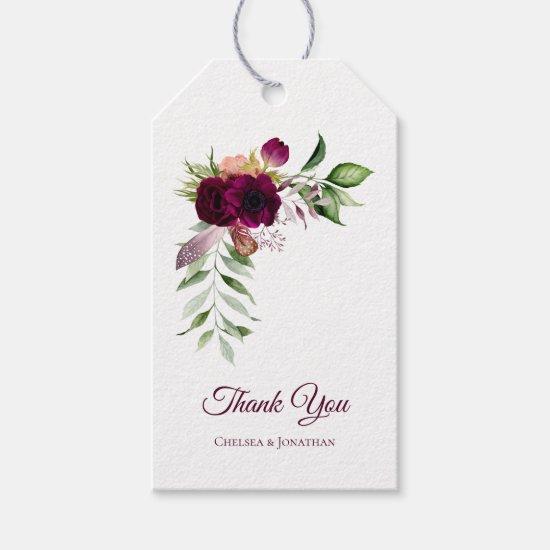 Bohemian Floral Romance Thank You Tags