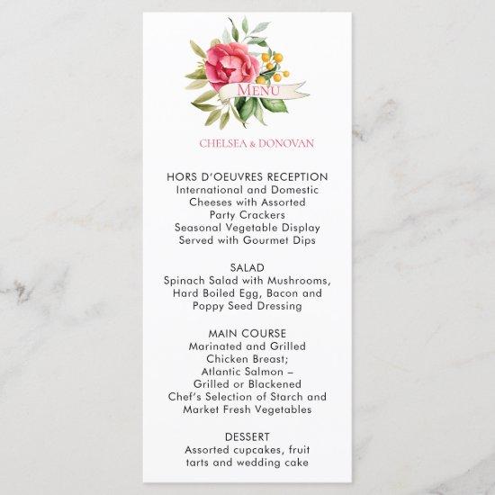 Bohemian Floral Romance Wedding Menu