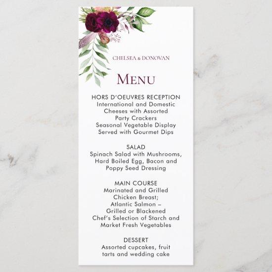 Bohemian Floral Romance Wedding Menu Cards