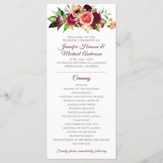 Bohemian Floral Romance Wedding Program