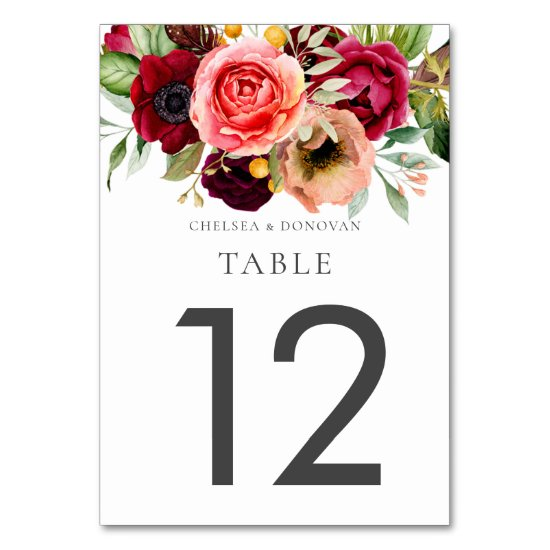 Bohemian Floral Romance Wedding Table Cards