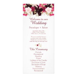 Bohemian Floral Wedding Ceremony Program Cards