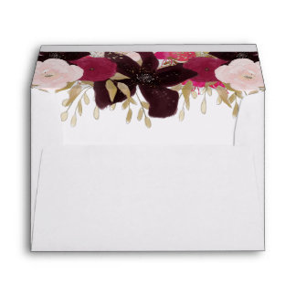 Bohemian Floral Wedding Custom A7 Lined Envelopes