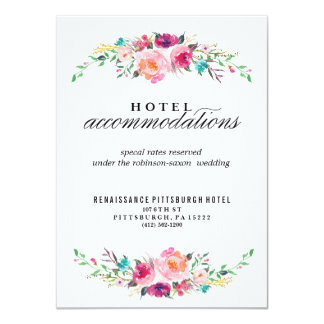 Bohemian Floral Wedding Hotel Card