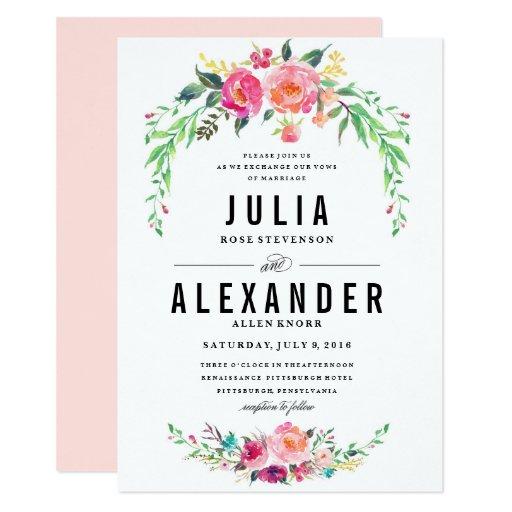Bohemian Floral Wedding Invitation