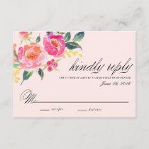 Bohemian Floral Wedding response card