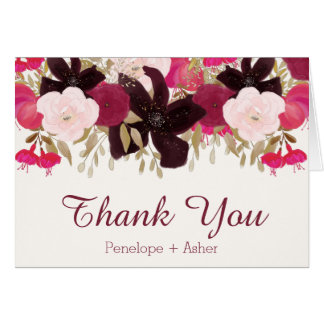 Bohemian Floral Wedding Thank You Folded Note Card