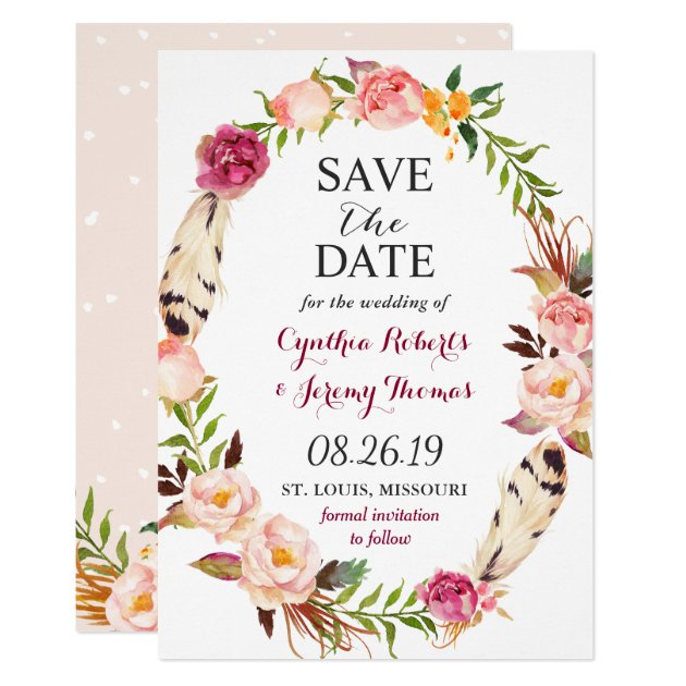 Bohemian Floral Wreath Feather Boho Save the Date Card