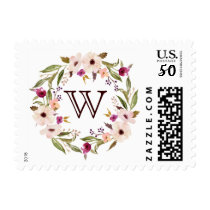 Bohemian Floral Wreath Monogram Stamp