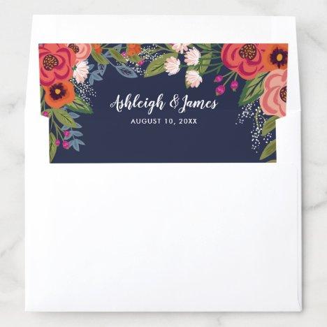 Bohemian Florals - Navy Blue Wedding Envelope Liner