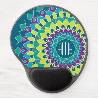 Bohemian Flower with Monograms Gel Mouse Pad