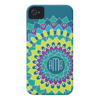 Bohemian Flower with Monograms iPhone 4 Cases