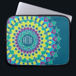 "Bohemian Flower with Monograms Laptop Sleeve<br><div class=""desc"">Add your initials to this funky floral design. You can change the monogram to one initial.</div>"