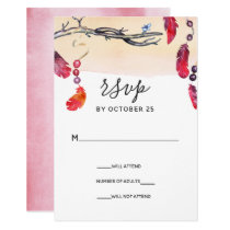 Bohemian free spirit wedding invitations rsvp