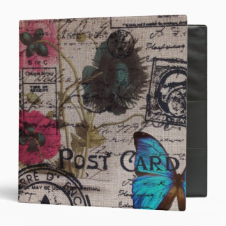 bohemian french country blue butterfly scripts 3 ring binder