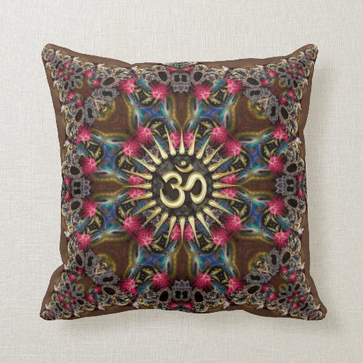 Bohemian Geo-Fractals Vintage OM Sign Cushion