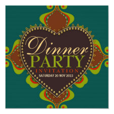 Bohemian Goddess Dinner Birthday Party Invitations