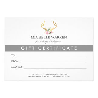 Bohemian Gold Antlers Gift Certificate Card