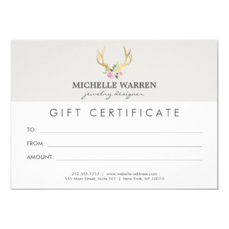 Bohemian Gold Antlers II Gift Certificate Card