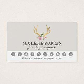 Bohemian Gold Antlers II Loyalty Punch Card