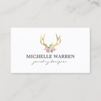 Bohemian Gold Antlers with Flowers Business Card