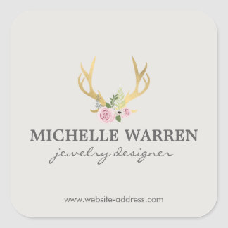 Bohemian Gold Antlers with Flowers II Personlized Square Sticker