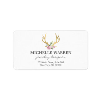 Bohemian Gold Antlers with Flowers Label