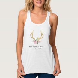 Bohemian Gold Antlers with Flowers Personalized Tank Top