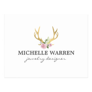 Bohemian Gold Antlers with Flowers Postcard