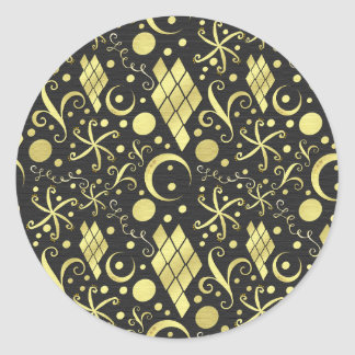 Bohemian Gold Diamonds and Swirls Pattern Classic Round Sticker