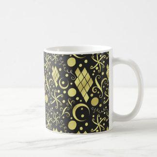 Bohemian Gold Diamonds and Swirls Pattern Coffee Mug