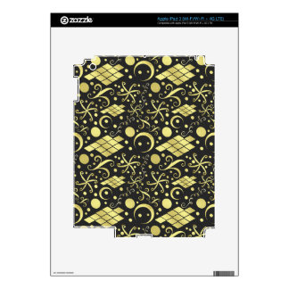 Bohemian Gold Diamonds and Swirls Pattern Decals For iPad 3