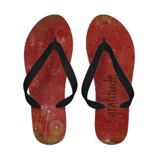 Bohemian Grunge Gratitude Flip Flops