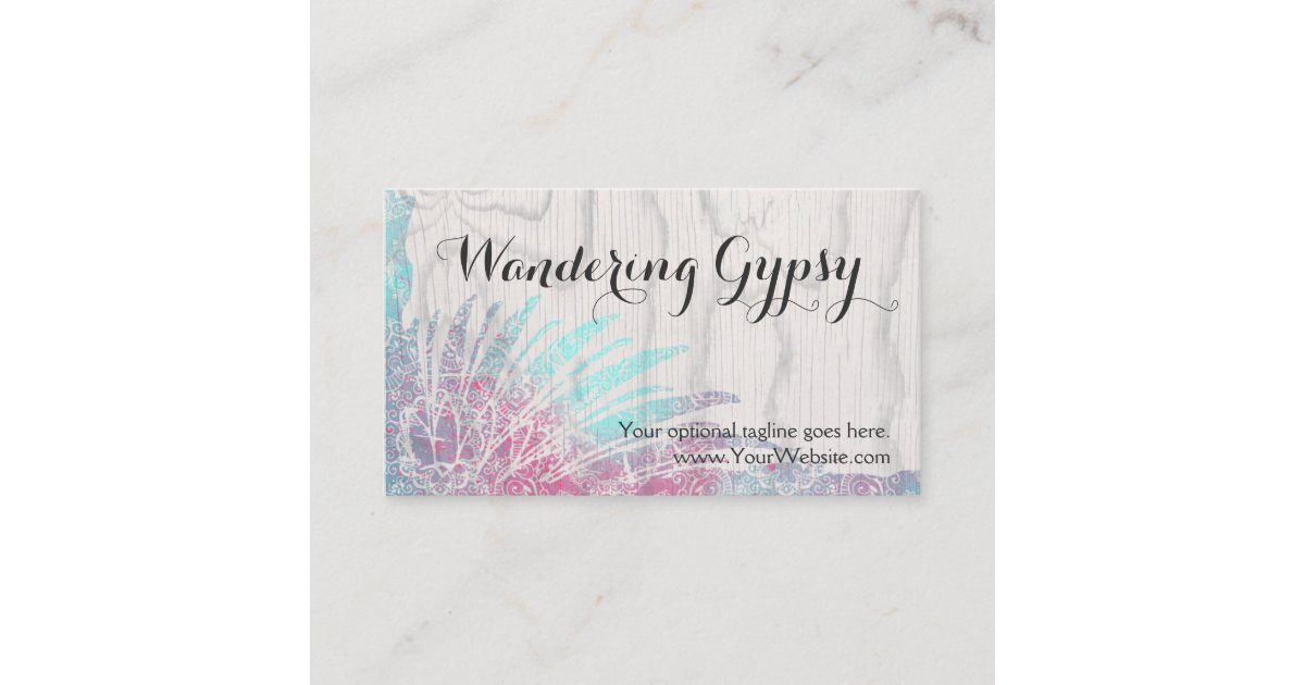Bohemian Gypsy Feathers On Rustic Wood Boho Chic Business