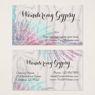 bohemian gypsy feathers on rustic wood boho chic business card