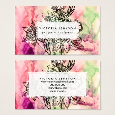 girly_trend Bohemian handdrawn abstract watercolor paint business card