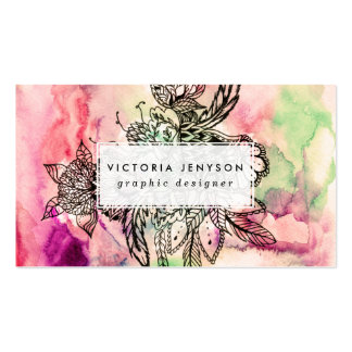 Bohemian handdrawn abstract watercolor paint Double-Sided standard business cards (Pack of 100)