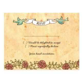 Bohemian Heart, Roses, Birds, & Banner Wedding Postcard