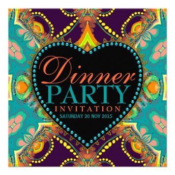 Stylish Teal & Gold Dinner Party Invitations