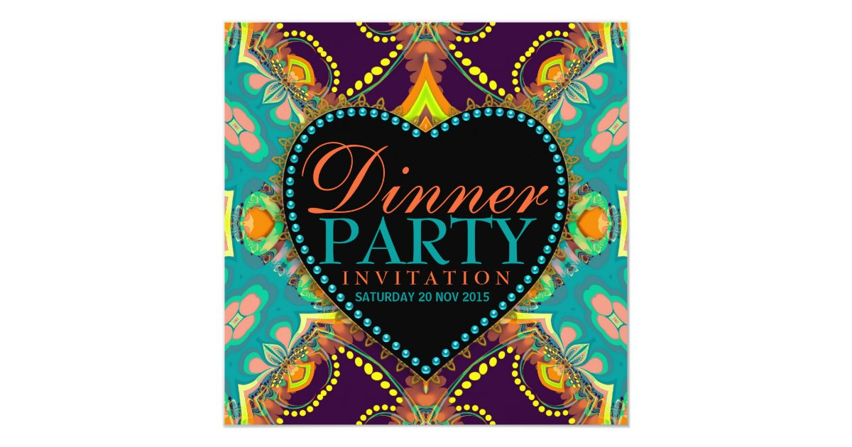 Bohemian Hippie Batik Dinner Party Invitations | Zazzle.com