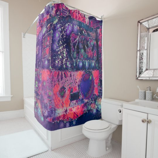 Bohemian Hippie Purple Pink Travel Trailer Shower Curtain