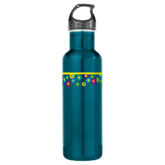Bohemian Hippy Chick Groovy Daisies Water Bottle