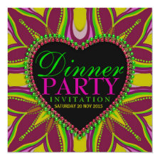 Bohemian Hippy Girls Night Dinner Party Invitation