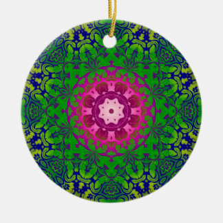 Bohemian kaleidoscope Fuschia Pink green mandala Ceramic Ornament