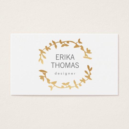 BOHEMIAN LEAF WREATH LOGO in GOLD Business Card