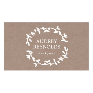 BOHEMIAN LEAF WREATH LOGO Tan Kraft Paper Effect Double-Sided Standard Business Cards (Pack Of 100)