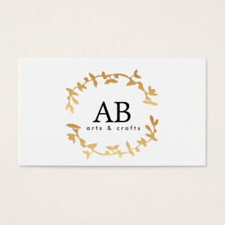 BOHEMIAN LEAF WREATH MONOGRAM in GOLD Business Card