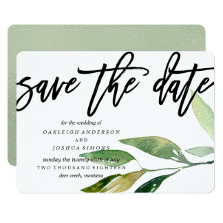 Bohemian Leaves Save the Date Script Card