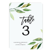 Bohemian Leaves Wedding Table Number Cards